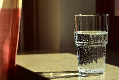 glass of distilled water